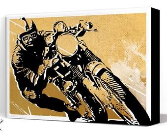 Motorcycle Art - Cafe Racer - Canvas Art Print, Motorcycle Gift, Man Cave Art, Motorcycle Decor, Garage Art, Wall Art Canvas, Office decor
