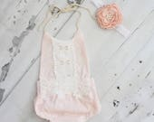 Boho Chic Blush Pink Lace Romper & Headband.  Newborn Baby Girl Coming Home Outfit, 1st Birthday Outfit, Summer Set, Mommy Me, Mother's Day