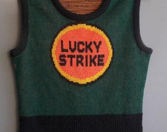 1971 pop art Lucky Strike sweater 1970s sweater vintage pop art, super rare sweater