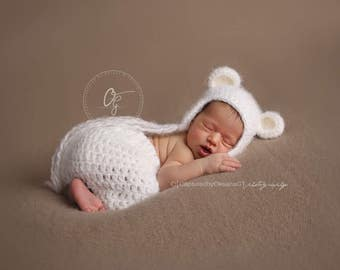 NEWBORN Hat, Baby Teddy Bear Hat, Baby Boy Hat, Baby Girl Hat, Angel White Hat, Ears, Newborn Photo Props, Baby Shower Gift, Handmade Set