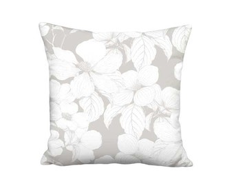 Pillow Cover - Pillow - Dogwood Flower Warm Grey and White Botanical Decor - 16x 18x 20x 22x 24x 26x 28x Inch Linen Cotton Cushion Cover