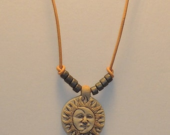 Handmade Sun/Moon Necklace with Adjustable Leather Band