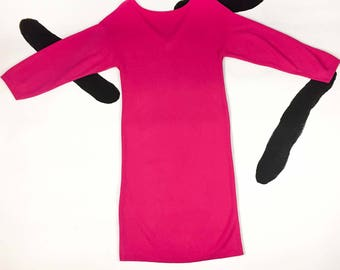 80's hot pink soft knit sweatshirt dress 1980's fuchsia new wave dolman long sleeve slip on dress / minimal / neon / Barbie / bubble / S XS