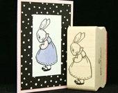little girl bunny rubber stamp