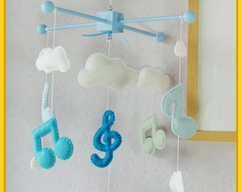 Music Note Mobile, Boy Room Mobile, Baby Mobile, Modern Nursery, Music Note Nursery, Music Notes and Clouds Mobile, Blue and White Theme