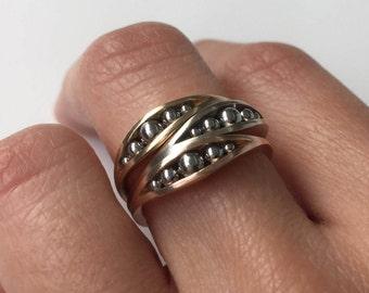 Gold & Steel Rings (3)   Minimalist   Modern   14K Yellow White Rose Gold   Designer   Stacking Ring   Vintage Modern