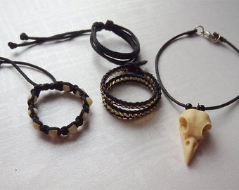 Nevermore - 1/3 BJD jewelry. Bird skull necklace, magic and gothic look, wicca, black adjustable bracelets