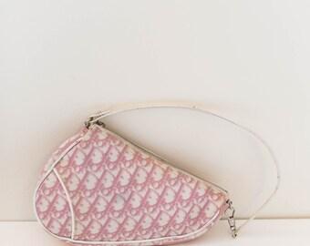 Christian Dior saddle bag - pink and white coated canvas monogram