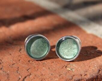 New! Handmade Custom Solid Pewter & Resin Cufflinks in Sage Green - Husband, groom, anniversary, bride, wedding, light green