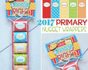 2017 PRIMARY Theme Nugget Wrappers, Gift Idea, CTR, Choose the Right Handout, Joshua 24:15, LDS ...