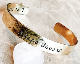 Agape Love in Greek or English, or Your Mantra on Custom Hand Stamped Jewelry - Custom Bracelet Cuff - Personalize, Bible Verse, Inspiration