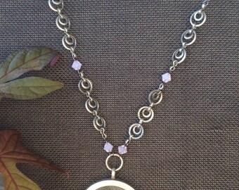 Black Lace Glass Frame Necklace