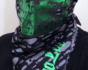 BOMBS AWAY Metallic Green Skull on Silver Bomb Black Bandana print half face mask dust shield scarf post apacolyptic burning man