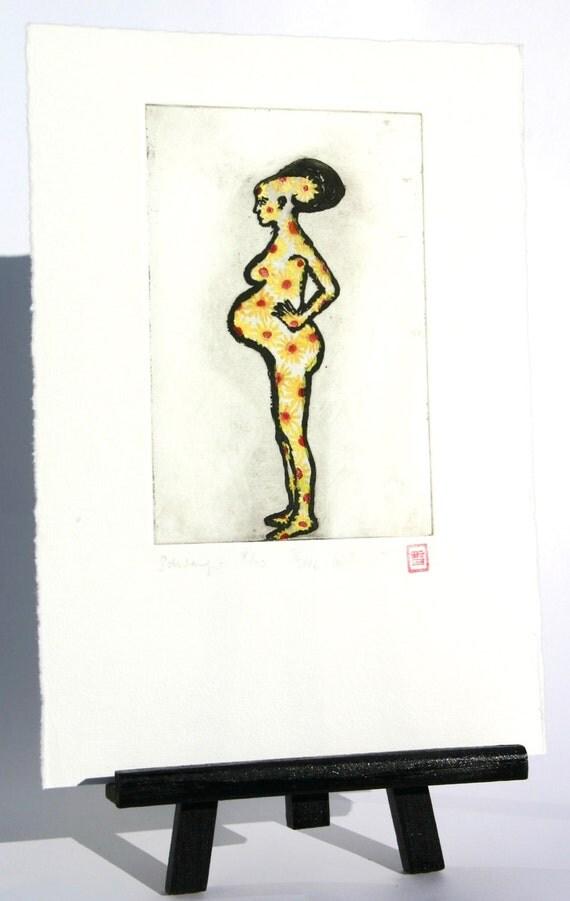 Pregnancy / Hippie Pregnancy - Original Etching
