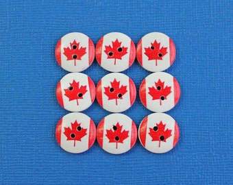 15 National Flag Buttons Painted Wood Canada Flag 15mm BUT387
