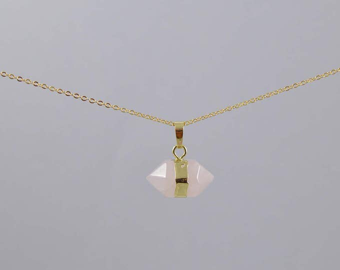 Rose Quartz Necklace, Rose Quartz Point Necklace, Rose Quartz Crystal Choker, Crystal Point Necklace, Quartz Crystal, Crystal Necklace