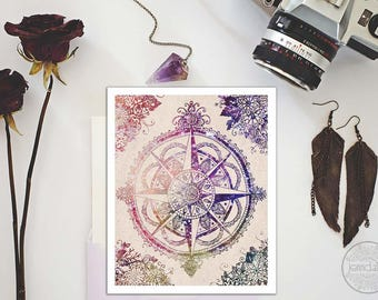 compass rose wall decor - bohemian art - travel gifts - travel art
