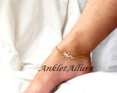Gecko Lizard Anklet Gold Ankle Bracelet Stainless Steel Body Jewelry Cruise Jewelry Gold Foot Jewelry