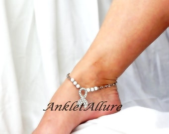 Anklet White Ribbon Ankle Bracelet Lung Cancer Awareness Bracelet Suffered Survived Jewelry