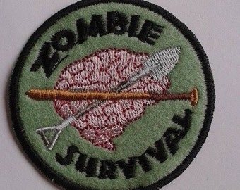 UK Zombie Apocolypse Survival applique, trimming, badge, patch Shaun of the Dead hand made