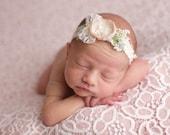 Newborn Tieback Headband, Nude Cream Tieback, Newborn Photo Prop, Newborn Tie Back, Newborn Headband, Newborn Halo, Floral Crown, Lace