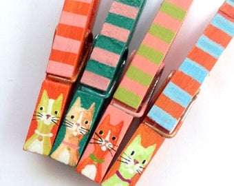 STRIPED CAT CLOTHESPINS painted magnetic pegs pink and green and orange