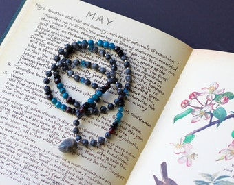 108 Bead Larvikite Gemstone Mala // teacher gift // one of a kind