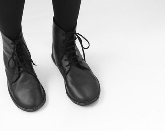 Lace up boots -  Foris in Matte Black - Handmade Leather Boots - CUSTOM FIT