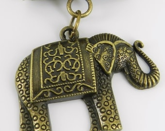 Elephant Scarf Pendant  ~ Antique Brass ~ Scarf Accessory ~ Fall and Winter
