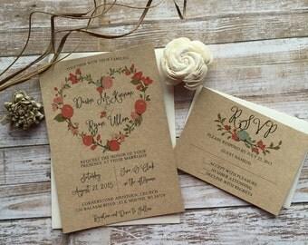 Rustic Wedding Invitation, Floral Heart Wedding Invitation, Shabby Chic Wedding Invitation, Barn Wedding Invitation, Country Wedding