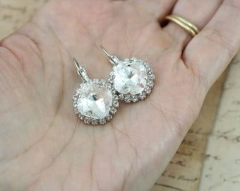 Crystal Bridesmaid Earrings Set of 3 4 5 6 7 8 9 10 Pairs Clear Bridesmaid Jewelry Bridal Party Halo Wedding Also Avail As Clip On Earrings