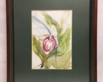 Purple Lady Slipper Orchid Watercolor Painting Framed Matted Spring Surreal Green Artist Olive George Pink