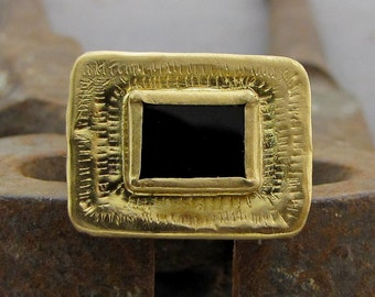 22k Solid Gold & Onyx Ring - Onyx Ring - Cocktail Ring - OOAK Statement Gold Ring