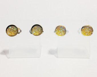 The Sugar Clip On Earrings in Lemon | Yellow Glitter Earrings | Glitter Druzy Clip On Earrings | Yellow Druzy Earrings | Limoncello Earrings