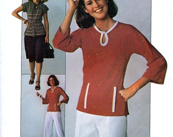 Simplicity 7874 Vintage 70s Sewing Pattern for Misses' Jiffy Knit Skirt and Pullover Top - Uncut - Size 10 - Bust 32.5