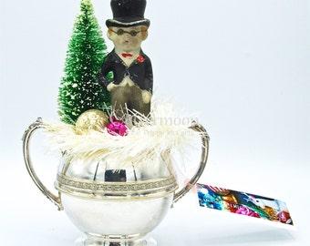 Vintage Christmas Tabletop Scene w/old Japan Ceramic Groom-Bottlebrush Tree-Vintage Ornaments