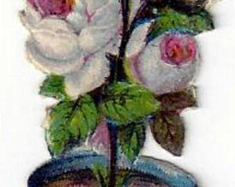 Vintage French Chromo Decoupis Lithograph Rose Bush in Pot, 1800s