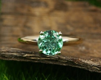 1.0cts 14K Colombian Emerald Solitaire Engagement Ring, Emerald Engagement Ring, Round Emerald Engagement Ring, Emerald Solitaire Ring