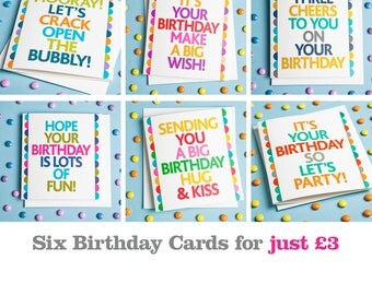 Pack of 6 birthday cards