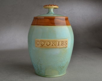 Cookie Jar Ready To Ship Patina & Brown Cookie Jar by Symmetrical Pottery