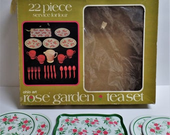Vintage Tin Toy Tea Set Rose Garden complete 22 pieces with box Ohio Art