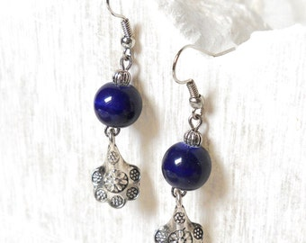 delft blue earrings Delft blue style blue earrings blue dangle earrings blue porcelain earrings