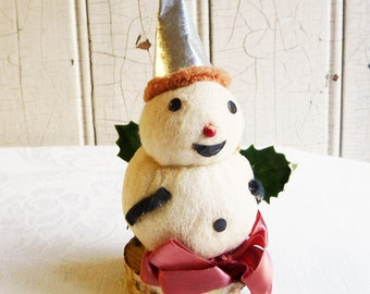 Spun Cotton Snowman in Pointed Foil Hat - Vintage Christmas Decoration - Mid-Century 1940s or 1950s - Kitschy Christmas Decor