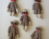 5 Mini Sock Monkey Ornaments - Soft and Cute Miniature Set - Discovery Channel Stores