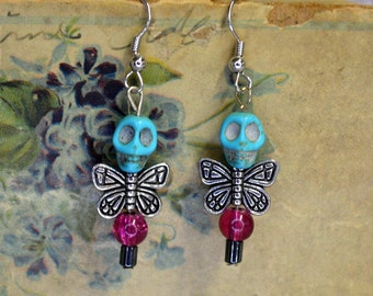 Dainty Purple Bead Turquoise Skull Dead Fairy Earrings Dark Romantic Jewelry