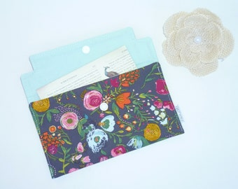 Coupon / Receipt Holder / Cash Wallet / Jewelry Pouch / Phone Case - Budquette Nightfall Botanical Floral