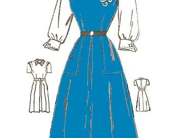 American Weekly 3779  Womens Dress 1940s Vintage Sewing Pattern Bust 31