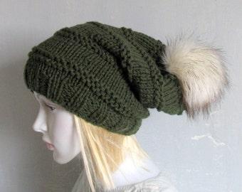 Knit Slouchy Hat Slouch Hat Womens Beanie Mens Men  Womens Winter Hat Chunky Knit faux fur pompom pom pom for hat large faux fur pom