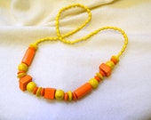 1980s Orange and Yellow Wooden Bead Necklace
