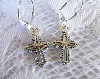 Filigree Open Cross Earrings Tibetan Silver or Antique Gold Filigree  Cross Earrings